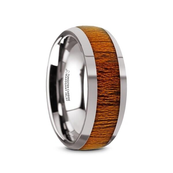 SWIETENIA Tungsten Carbide Mahogany Wood Inlay Men's Domed Wedding Ring with Polished Finish