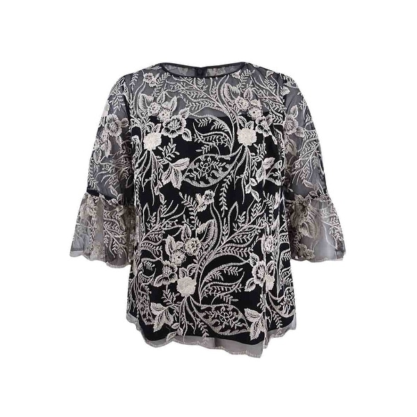 52ffb2ab42c Shop Alex Evenings Women s Plus Size Sheer Embroidered Blouse -  Black Champagne - Free Shipping Today - Overstock - 25695668
