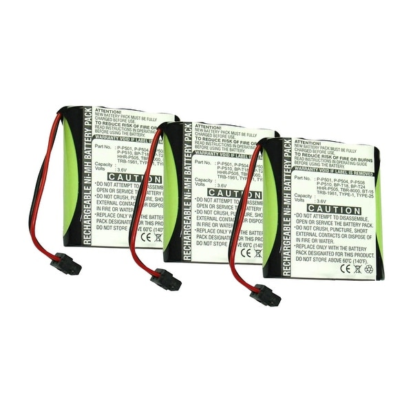 Replacement Battery For Panasonic KX-TC911 Cordless Phones - P504 (700mAh, 3.6v, NiMH) - 3 Pack