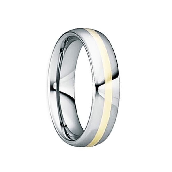 DOMITIANUS 18K Yellow Gold Inlaid Tungsten Wedding Band with Polished Finish by Crown Ring - 6mm