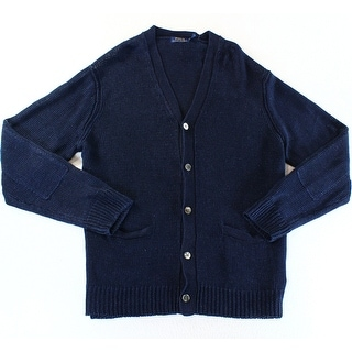 Polo Ralph Lauren NEW Navy Blue Mens Size 2XL Cardigan Knit Sweater