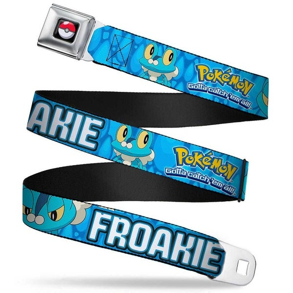Pok Ball Full Color Pokmon & Y Froakie Poses Water Drops Blues Webbing Seatbelt Belt
