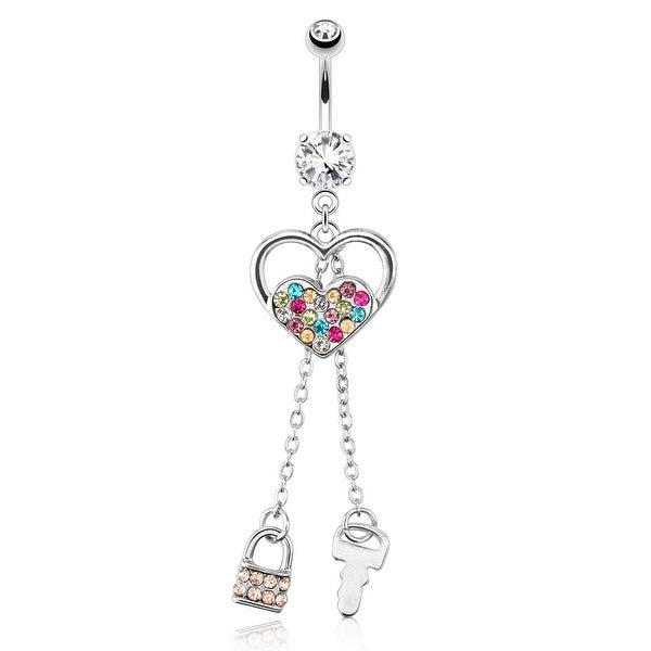 Heart w/ Multi Color Paved Gems and Chain Lock and Key Dangle Surgical Steel Navel Ring (Sold Ind.)