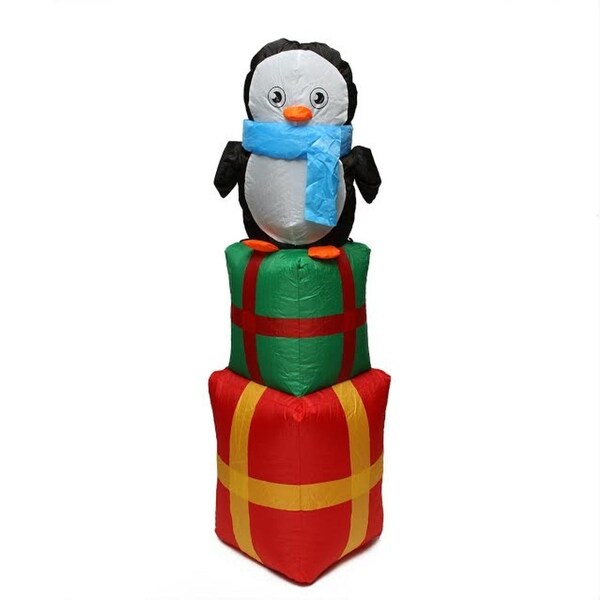 4' Inflatable Cute Penguin on Gift Boxes Lighted Christmas Outdoor Decoration - green