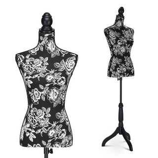 Costway Height Adjustable Female Mannequin Torso Dress Form Display w/Black Tripod Stand