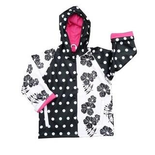 Little Girls Black White Rain Coat 2T-6