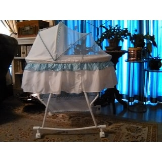 Dream On Me Lacy, Portable 2 in 1 Bassinet and Cradle in Blue and white