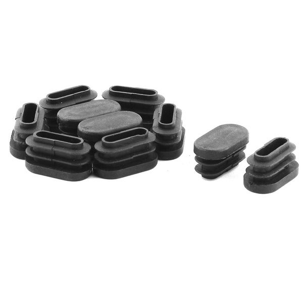 Home Chair Legs Plastic Flat Base Tube Pipe Inserts End Caps Black 10 PCS