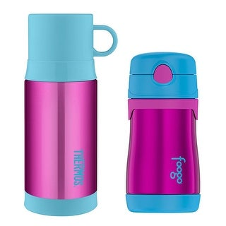 Thermos Insulated 12 oz Drink Bottle and 10 oz Straw Drink Bottle - Aubergine