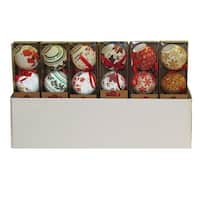 """Club Pack of 24 Vibrantly Colored Decoupage Christmas Ball Ornaments 3.14"""" - GOLD"""