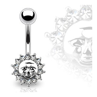"Navel Belly Button Ring with Gem Sun and Face - 14GA 3/8"" Long"