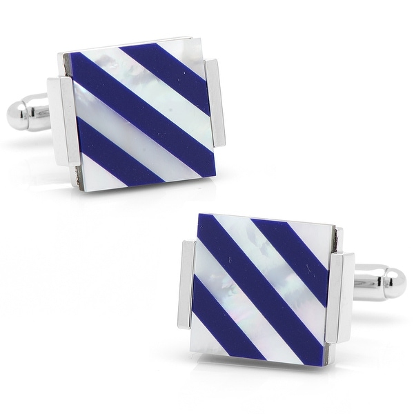 Floating Lapis and Mother of Pearl Striped Cufflinks