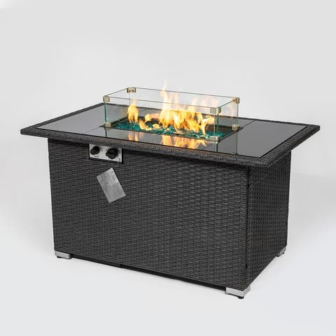 """Outdoor 44"""" Fire pit Table Rectangle 50,000 BTU with 8mm Tempered Glass Tabletop & Blue Stone& Steel table lid"""