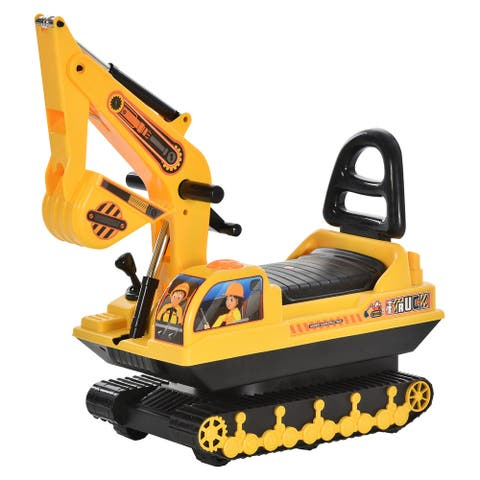 HOMCOM Kids Construction Kick Ride-On Digging Toy with Safe/Comfortable High Back Seat & Realistic Moveable Dirt Bucket