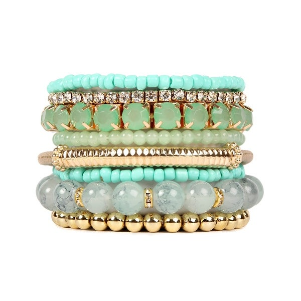 Glass Beaded Elasticated Bracelet Various Colours Matching Items Gift Wrapped