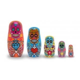 Day of The Dead Wood Nesting Dolls, Set of 5 - multi