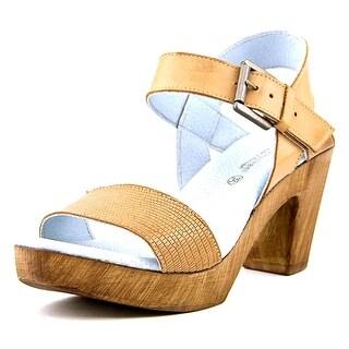 Eric Michael Dallas Women Open Toe Leather Brown Platform Sandal