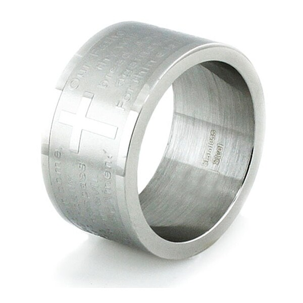 Wide Stainless Steel Lord's Prayer Ring