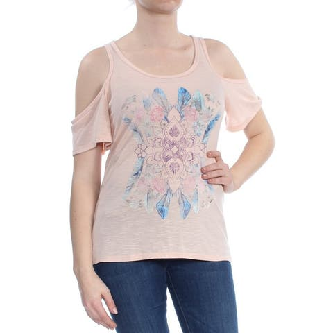 JESSICA SIMPSON Womens Coral Cold Shoulder Graphic Short Sleeve Scoop Neck Top Size: M