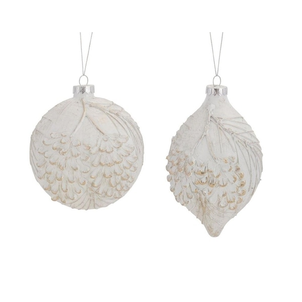 Pack of 6 White Pine Cone Distressed Finish Glass Christmas Ornaments
