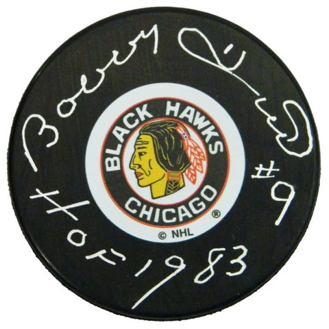 Bobby Hull Chicago Blackhawks Original Six Logo Hockey Puck wHOF 1983