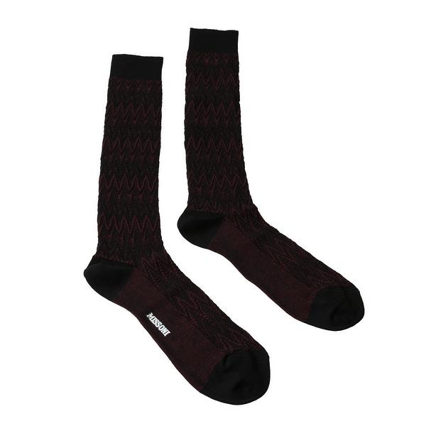 Missoni GM00CMU5239 0003 Burgundy/Black Knee Length Socks - M