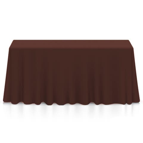"90 x 132"" Premium Rectangular Polyester Tablecloth - Chocolate"