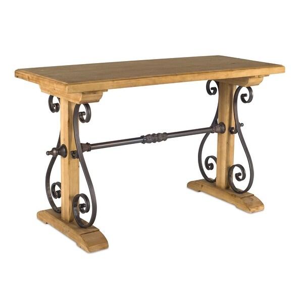 "Aged Iron Trestle Style Base Wood Table 29"" - N/A"