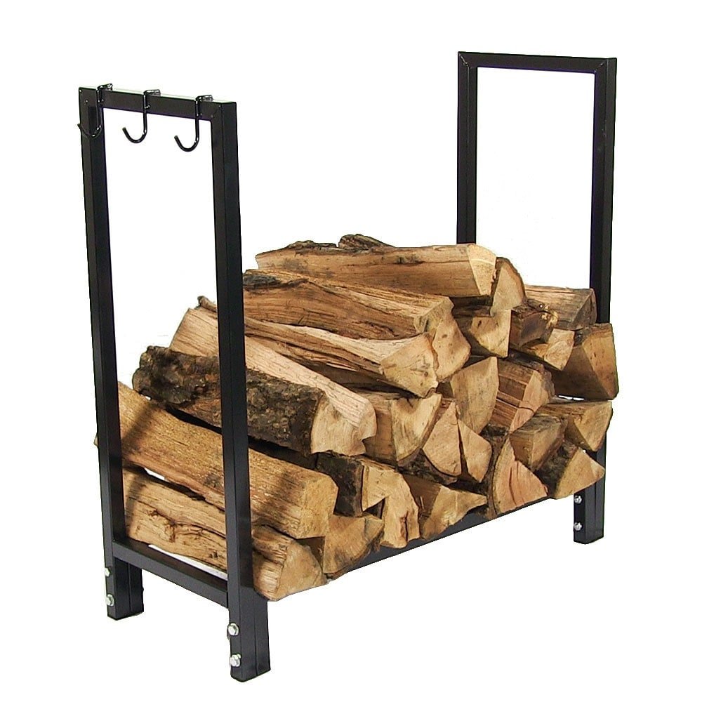 Sunnydaze 30 Inch Black Steel Firewood Log Rack - Thumbnail 2