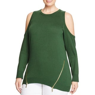 MICHAEL Michael Kors Womens Plus Pullover Sweater Ribbed Trim Open Shoulder