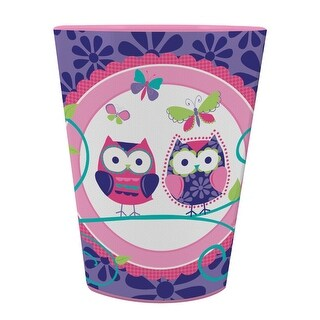 Pack of 12 Owl Pal Birthday Pink and Purple Plastic Drinking Party Tumbler Cups 16 oz.