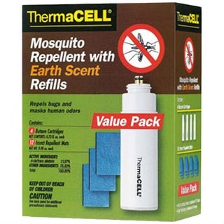 Thermacell E4 Mosquito Repellent Earth Scent Refills w/ 4 Butane Cartridge & 12 Repellent Mads
