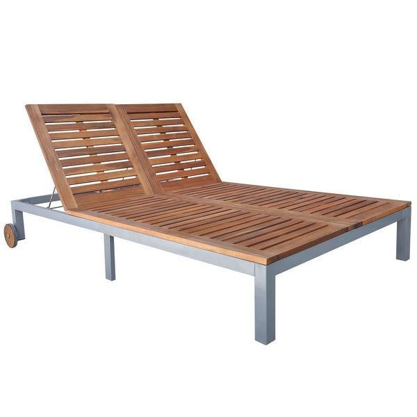 "vidaXL Double Sun Lounger with Wheels Solid Acacia Wood - 81"" x 51"" x (12""-35"")"