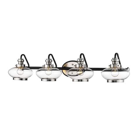Matte Black/Satin Nickel 4 Light Bathroom Vanity Light