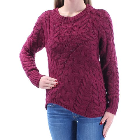 KIIND OF Womens Burgundy Long Sleeve Jewel Neck Trapeze Sweater Size: XS