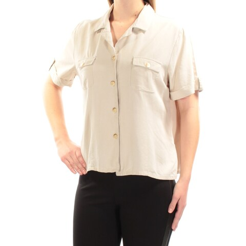 Womens Beige Short Sleeve Collared Casual Button Up Top Size M