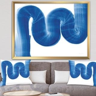 Link to Designart 'Blue Geometric S Curve' Modern Transitional Framed Art Print Similar Items in Art Prints