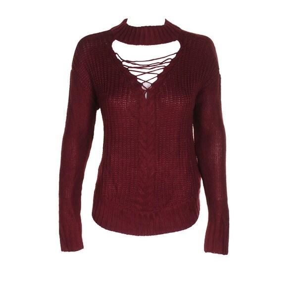 0ff0ae830c Shop American Rag Juniors Burgundy Lace-Up Cutout Mock-Neck Sweater ...