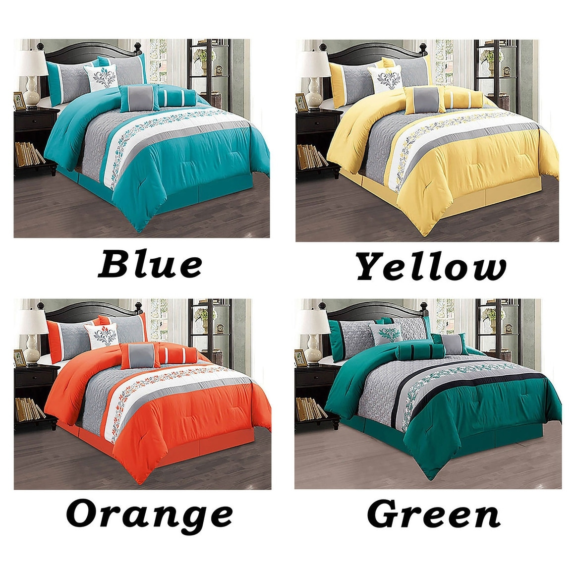 4 Pc Luxury Comforter Set Modern With Shams Modern Yellow King Brigs Com