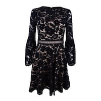 Vince Camuto Women's Bell-Sleeve Lace Dress (4, Black) - Black - 4
