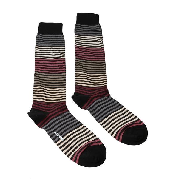 Missoni GM00CMU5233 0002 Black/Cream Striped Knee Length Socks - S