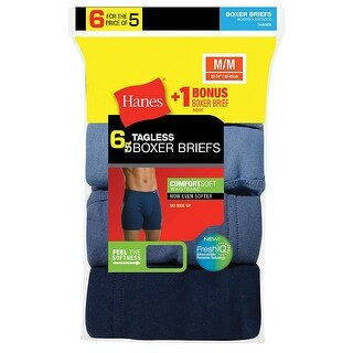 Hanes Men's TAGLESS Boxer Brief with ComfortSoft Waistband 6-Pack (Includes 1 Free Bonus Boxer Brief) - Size - S - Assorted
