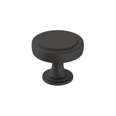 Exceed 1-1/2 in (38 mm) Diameter Matte Black Cabinet Knob - 1.375