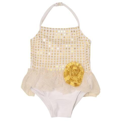 Sol Swim Little Girls Gold Sequin Floral Halter One Piece Swimsuit