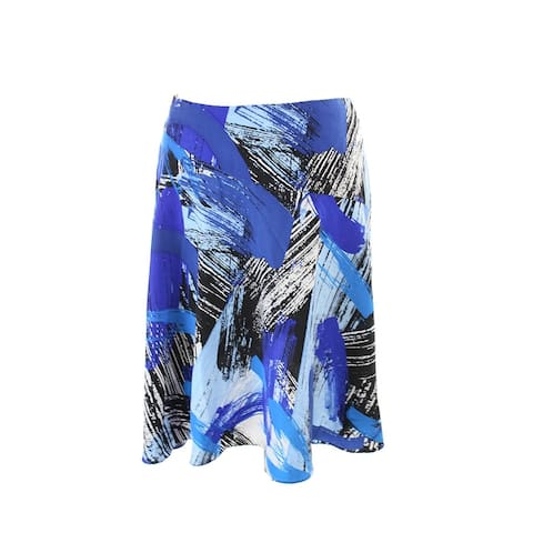 Vince Camuto Bright Blue Abstract-Print A-Line Skirt 2