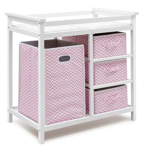 Costway Pink Infant Baby Changing Table w/3 Basket Hamper Diaper