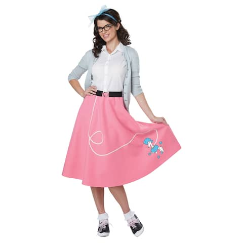Womens Pink 50's Poodle Skirt Costume
