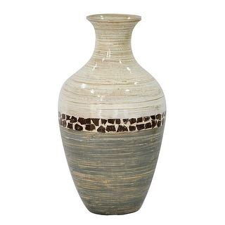 """20"""" Spun Bamboo Vase - Bamboo In White And Gray W/ Coconut Shell"""