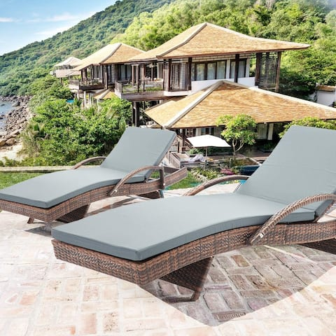 Mcombo Wicker Lounge Chaise Patio Outdoor Adjustable Chair 6082-TYBR-EY-2