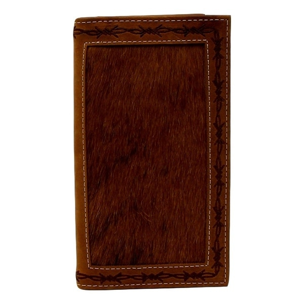Nocona Western Wallet Mens Rodeo Hair Leather Clear ID Tan - 3 3/4 x 6 3/4